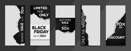 Set of sale, website store banner templates. Banners for online shopping. Editable Stories template with torn paper. Vector illustrations for posters and newsletter designs, ads 矢量图像