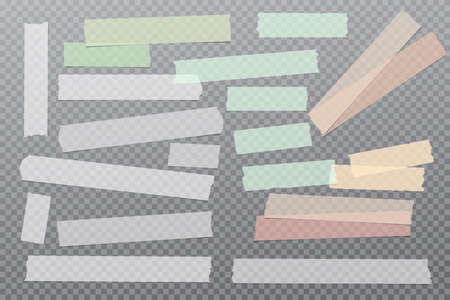 Set of white, green different size adhesive, sticky, masking, duct tape, paper pieces are on grey squared background
