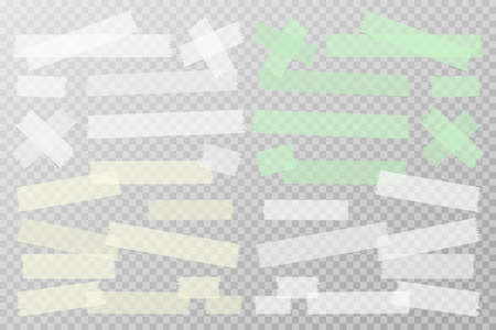 Set of white, yellow, green different size adhesive, sticky, masking, duct tape, paper pieces are on squared gray background