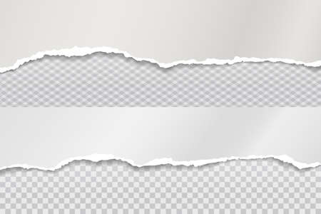 Strips of torn, ripped grey and white paper with soft shadow are on squared background for text. Vector illustration