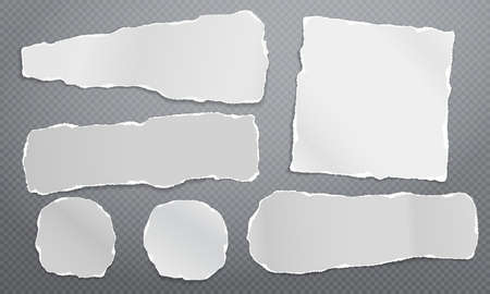 Set of torn white note, notebook blank paper pieces stuck on dark grey squared background. Vector illustration
