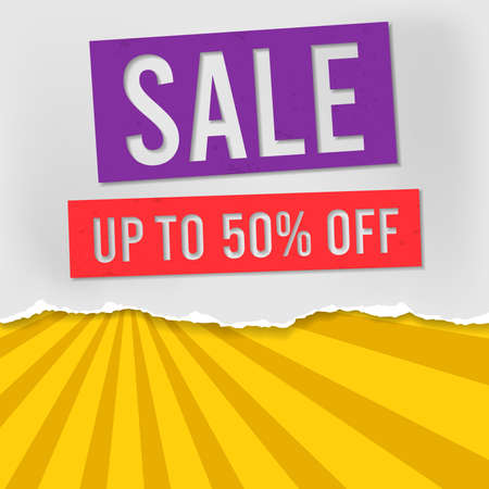 Sale is written on the green torn paper. Website store banner template. Online shopping. Vector illustration for posters and newsletter designs, ads. Orange Sunburst Pattern Background 矢量图像