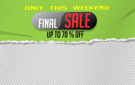 The last sale is written on the green torn paper. Website store banner template. Online shopping. Vector illustration for posters and newsletter designs, ads