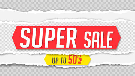 The super sale is written on the square torn paper. Website store banner template. Online shopping. Vector illustration for posters and newsletter designs, ads