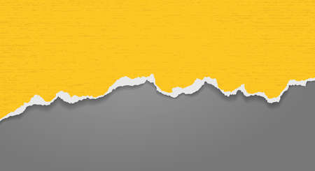 Piece of torn bright yellow horizontal paper with soft shadow stuck on dark grey background. Vector illustration 矢量图像