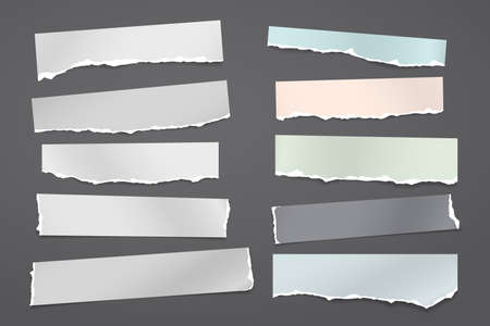 Torn of white and colorful note, notebook paper strips and pieces stuck on black background. Vector illustration