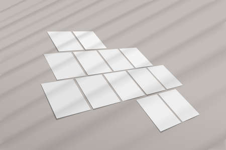 Set of blank A4 paper sheets, poster mockup with with soft window shadow. Vector illustration