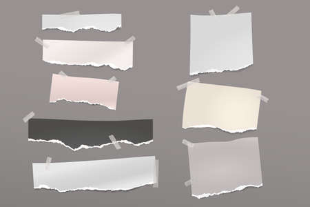 Torn of white and colorful note, notebook paper strips and pieces stuck with sticky tape on dark grey background. Vector illustration