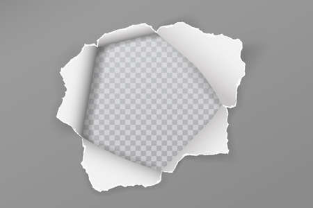 Torn grey paper hole with soft shadow, frame for text is on white squared, transparent background. Vector illustration