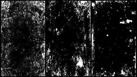 Set of scratched grunge background made of ink. Dirty splashes vector illustration