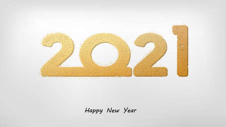 2021 new year. Numbers with bright golden sparkles and shadow. Vector illustration