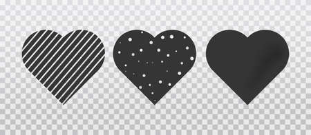 Set of hearts of different shapes with holes, lines and shadow. Vector illustration
