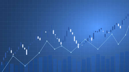 Bull market lined, candle charts, graphic. Financial and economic growth. Vector illustration