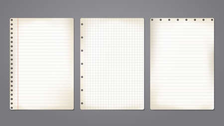 Set of old beige note, notebook paper with soft shadow are on dark background. Vector illustration 矢量图像