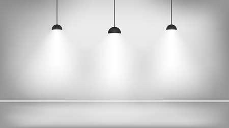 Black lamps in white studio near the wall. Vector illustration 矢量图像