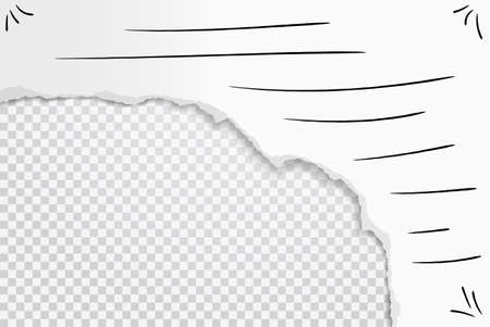 Torn, ripped white paper with pen brushes and soft shadow are on square background for text. Vector illustration 矢量图像