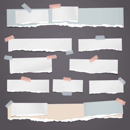 Set of torn white and colorful note, notebook strips, paper pieces stuck with sticky tape on dark background. Vector illustration