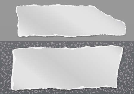 Set of torn, ripped white paper with soft shadow are on grey pattern of different shapes, background for text. Vector illustration
