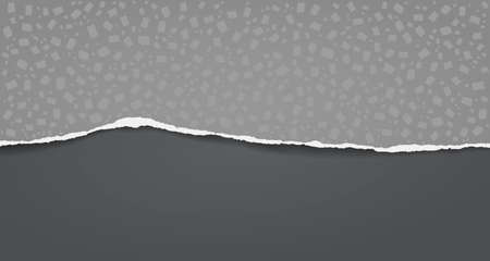 Torn, ripped dark grey paper with pattern of different shapes and soft shadow are on black background for text. Vector illustration
