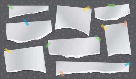 Set of torn white note, notebook paper pieces stuck with sticky tape on dark background made of triangle shapes. Vector illustration