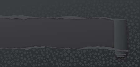 Rolled and ripped black paper with different shapes patternt for for your ad text. Vector illustration