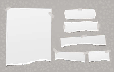 Torn of white note, notebook paper strips and pieces stuck with sticky tape on grey background created from square shapes. Vector illustration 矢量图像