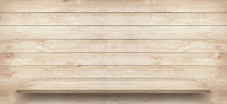 White wooden table top or shelf is near brown wooden wall 免版税图像