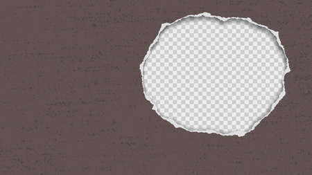 Torn dark brown and grunge paper hole with soft shadow, round frame for text or advertising is on square transparent background. Vector illustration