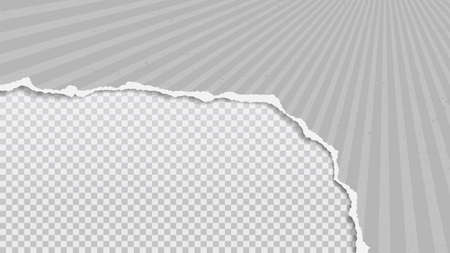 Torn of gray paper with strips is on white transparent background for text, advertising or design. Vector illustration 矢量图像