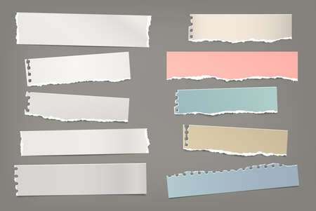 Torn of white and colorful note, notebook paper strips and pieces stuck on dark grey background. Vector illustration