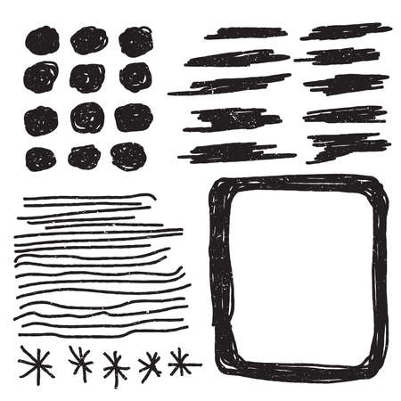 Set of grunge, distressed vector shapes. Abstract painted brush strokes, frame. Design elements. Vector illustration