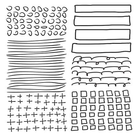 Set of grunge vector shapes. Abstract painted brush strokes, frames. Design elements. Vector illustration