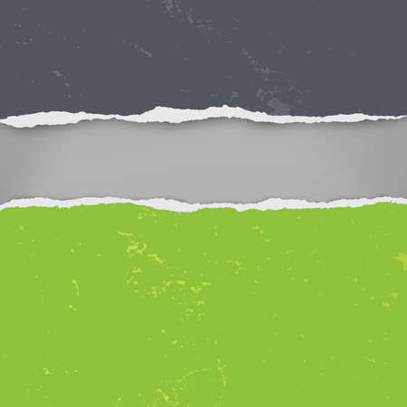 Pieces of torn, ripped distressed black and green paper with soft shadow are on dark grey background for text. Vector illustration