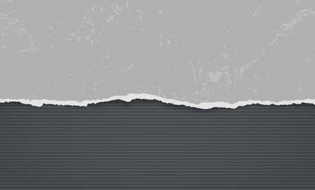 Piece of torn, ripped distressed dark gray paper with soft shadow is on black lined background for text. Vector illustration