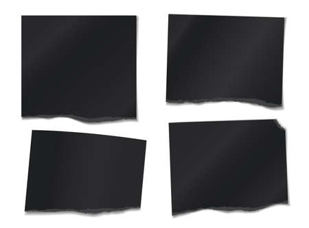 Set of torn black note, notebook paper pieces stuck on white background. Vector illustration 向量圖像