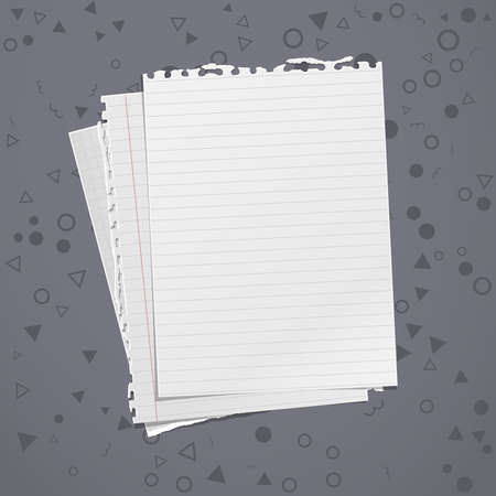Torn of white, lined and math note, notebook paper stuck on dark grey background with pattern. Vector illustration