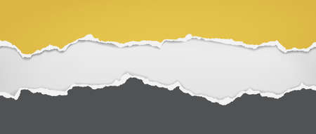 Torn, ripped dark grey and yellow paper with soft shadow are on white background for text. Vector illustration 矢量图像