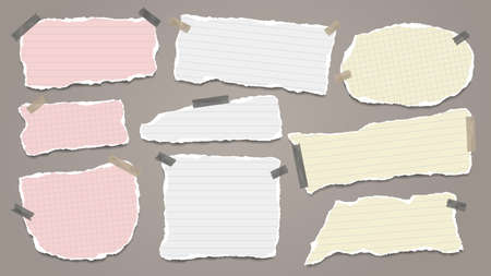 Set of torn white and colorful note, notebook paper pieces stuck with sticky tape on dark background. Vector illustration 矢量图像