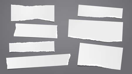 Set of torn white note, notebook paper pieces stuck on dark grey background. Vector illustration 矢量图像