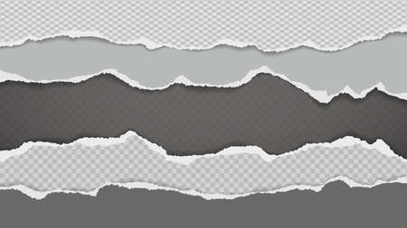 Pieces of torn, ripped white and grey paper with soft shadow are on squared background for text. Vector illustration