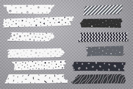 Set of white and grey different size adhesive, sticky, masking, duct tape with geometric pattern are on dark gray transparent background