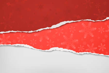 Piece of torn, ripped red paper with snowflakes pattern and soft shadow are on white background for text. Vector illustration