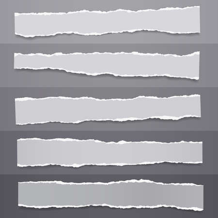 Set of torn of white, gray note, notebook paper strips and pieces stuck on dark gray backgrounds. Vector illustration