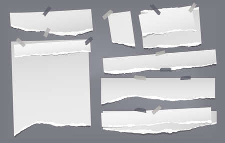 Set of torn white note, notebook paper pieces stuck with sticky tape on dark gray background. Vector illustration Ilustração