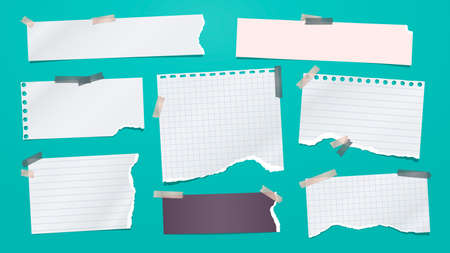 Set of torn white note, notebook paper pieces stuck with sticky tape on turquoise background. Vector illustration Ilustração