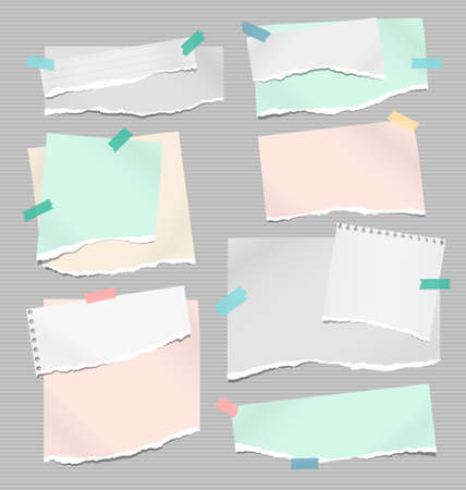 Set of torn white and colorful note, notebook paper pieces stuck with sticky tape on lined background. Vector illustration