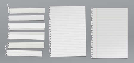 Set of torn white note, notebook paper pieces stuck on grey background. Vector illustration