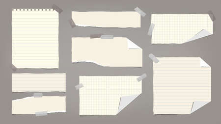 Set of torn yellow note, notebook paper pieces with folded corners stuck on dark grey background. Vector illustration 向量圖像