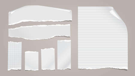 Set of torn white note, notebook paper pieces with folded corners stuck on light grey background. Vector illustration