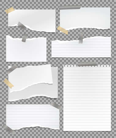 Set of torn lined white note, notebook paper pieces stuck with sticky tape on squared background. Vector illustration 向量圖像